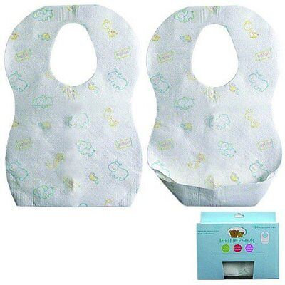Luvable Friends Baby Boys & Girls 24 Pack Crumb Catcher Disposable Bibs White