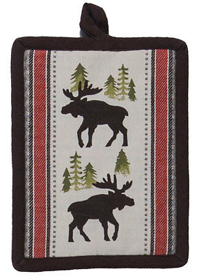 Simple Living  Moose Country Quilted Woven Cotton Kitchen Stove Potholder