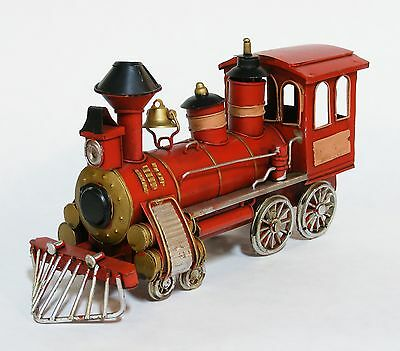 Hand Crafted Tin Model Red Locomotive Train Engine Railroad Decorative Accessory