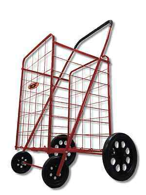 Classic Large Wheel Folding Shopping Cart in Red