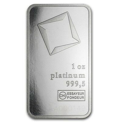 1 oz Platinum Swiss (Switzerland) Valcambi Bar