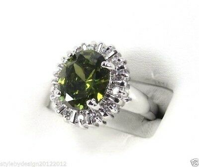 R#2198 simulated Forest Green Peridots Gemstone ladies silver ring size 8