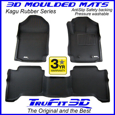 Suits Ford Ranger PX PX2/3 Dual Cab 2011-2019 Genuine 3D Black Rubber Floor Mats