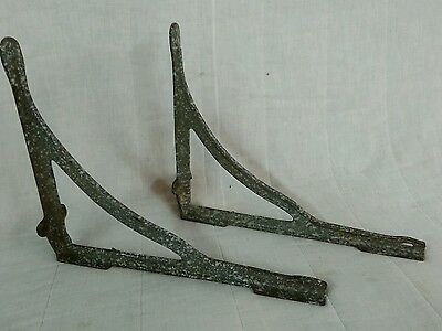 Pair Antique Cast Iron Sink Supports Shelf Brackets industrial enamel hardware