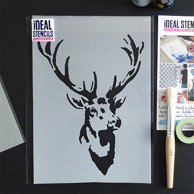 Stags Head Deer Stencil vintage home decor wall painting craft ideal stencils