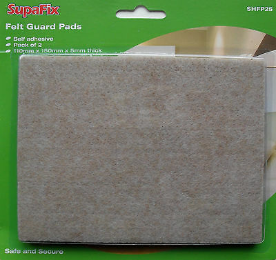 Felt Pads floor protectors 110mm x 150mm (5mm thick) pack of 2 by Supafix