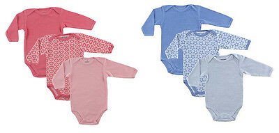 Luvable Friends Long Sleeve Thermal Bodysuit 3-Pack Blue Stars & Pink Hearts