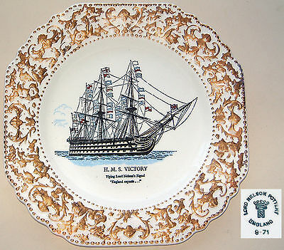 """Lord Nelson Pottery: 'HMS Victory' Gilt Plate: 8⅜"""" Square"""
