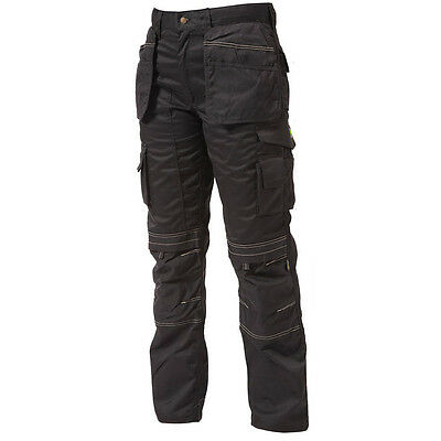 Apache Black Heavy Duty Cargo Work Waer Trousers Holster & Kneepad Pockets