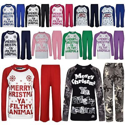 "Kids Girls Boys PJ'S ""YA FILTHY"" Printed Christmas Pyjamas New Age 5-13 Years"