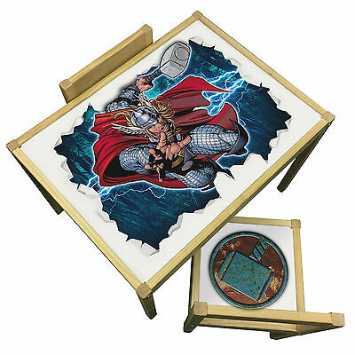 Childrens Thor 3D Effect Table & Chairs Set -  Marvel Avengers Theme Furniture