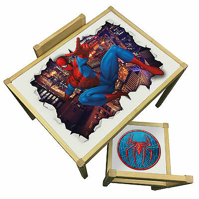 Childrens Spider Man 3D Table & Chairs Set -  Marvel Avengers Theme Furniture