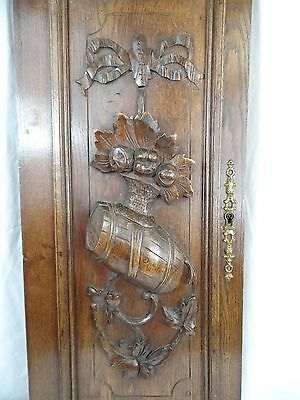 French Hand Carved Oak Wooden Door Panel - Barrel and Ribbon 19th c