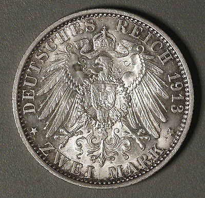 1913-A German States PRUSSIA 2 Mark KM# 533 AU Surface hairlines