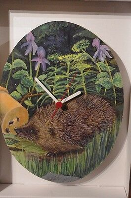 Hedgehog in the country novelty wooden wall clock British made by Lark Rise