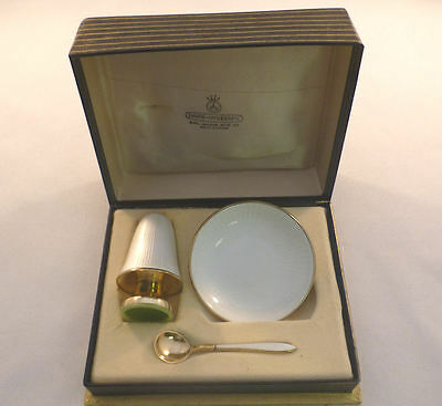 David Andersen Norway Sterling and WHITE Enamel 3pc Salt and Pepper Boxed Set