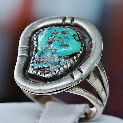 1870 antique southwest handmade 925 sterling silver turquoise ring 8.2g sz 9.25