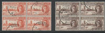 Barbados 1946 Victory fine used set as blocks 4 Stamps