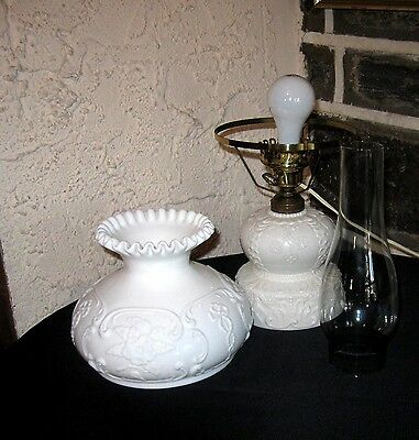 Vintage Oil lamp converted ready to convert back Beautiful Milk glass ornate