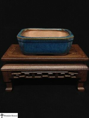 Blue Glazed Rectangle Bonsai Tree Pot 12x10x5cm