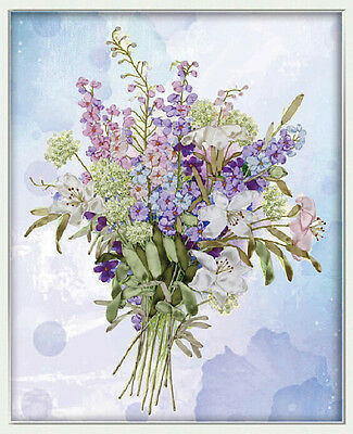 Ribbon Embroidery Kit Floral A Bouquet of Flowers Needlework Craft Kit XZ1011