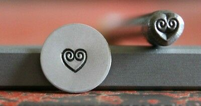 SUPPLY GUY 5mm Heart with Swirl Metal Punch Design Stamp SGWM-2, Made in the USA
