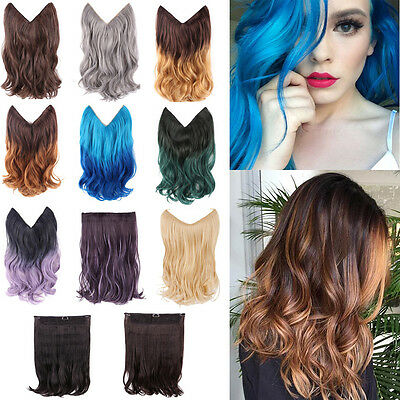 "14"" 20"" Halo Ombre Hidden Secret Invisible Wire Hair Extensions Flip On In Hair"