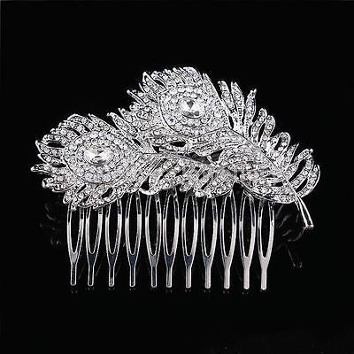 Wedding Bridal Hair Accessories Diamante CZ Crystal Peacock Feathers Hair Comb
