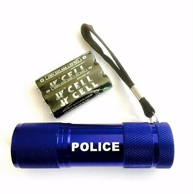 1 x POLICE branded 9 LED Metal Torch in Blue for Police,PCSO