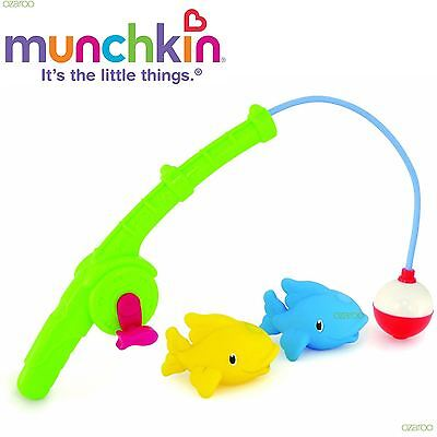 Munchkin Toddlers Gone Fishing Bath Toy Set, with 2 Fish Squirters + Fishing Rod
