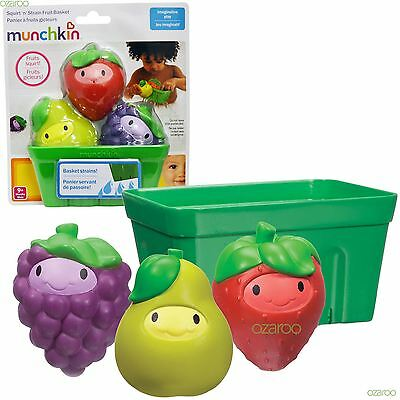 Munchkin Baby Squirt-n-Strain Fruit Basket, Three Fruit Squirters For Bathtime