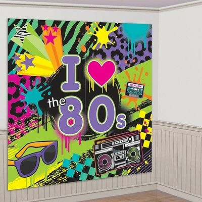 I Love the 80's Decorating Kit 165 x 165 cm - 1980 Party Scene Setter Decoration