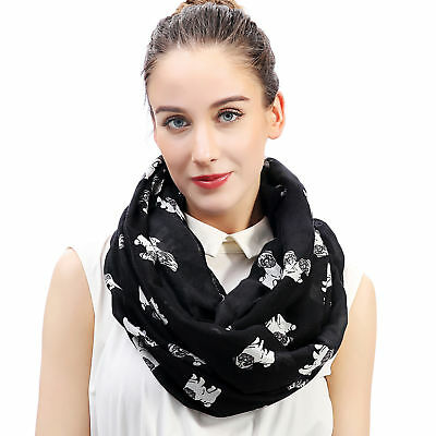 Cute Pug Dog Print Women's Infinity Loop Scarf Gift for Dog Lover