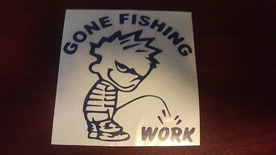 Window Toolbox Sticker #100 Clavin Pissing Gone Fishing Piss on Work Stickers