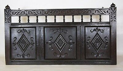 19th Century Victorian Gothic Revival English Carved Oak Bed Panel