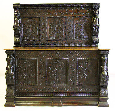 19th C Gothic Revival Carved English Oak Sideboard