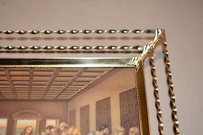 1940s Antique Vintage Twisted Polish Brass PICTURE FRAME Metal Christian Wedding