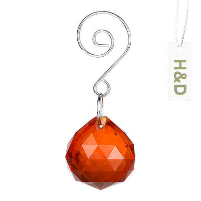 3pcs Rainbow Natural Orange Suncatcher Cut Crystal Ball Prism Drop Pendant 30mm