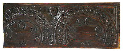 A large 17th Century English Carved Oak Panel Settle Back or Chest Fragment