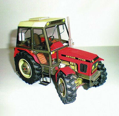 Czech Zetor 7745-7211 Tractor 1:32 scale agricultural machinery Paper model kit