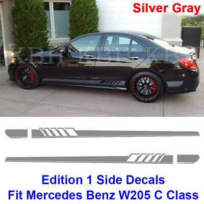 Edition 1 Side Stripe Decal Sticker Mercedes Benz W205 C Class AMG Silver Gray