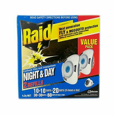 Raid Night & Day Twin Refill For Electronic Fly and Mosquito Repellent