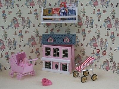 Dolls House 12th scale 6pc Girls Pink Toys Play Set