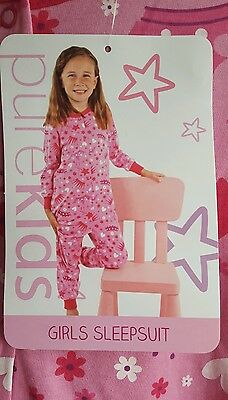 NEW Girls Pink Sleepsuit Select Size 3-4, 5-6, 7-8
