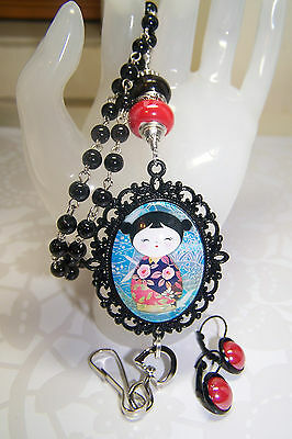 Black Rosary With Japanese Washi Cabochon Beaded Lanyard / ID Badge & Earrings