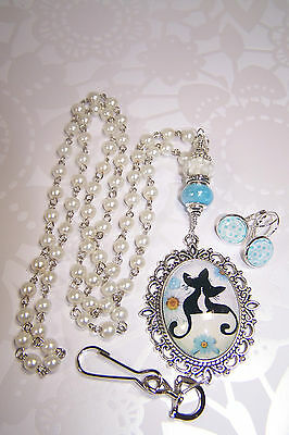 Blue Ceramic & White Murano - Silhouette Cats Cabochon Beaded Lanyard / ID Badge