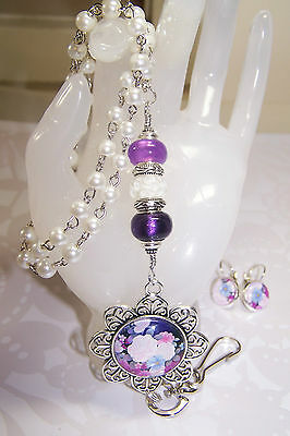 Purple & White Murano - Pink & Purple Floral Cabochon Beaded Lanyard / ID Badge