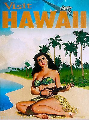 Hawaii Hawaiian Girl Ukelali United States America Travel Advertisement  Poster