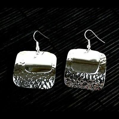 Handmade Large Silverplated Double Square Earrings