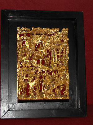 Antik Holzpanel Geschnitzt China Asian Antique Hand Carved Gilt Wood Panelrelief